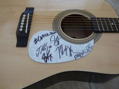 Parmalee All 4 Band Signed Autographed Acoustic Guitar W/ Lyrics PSA Guaranteed