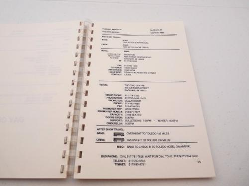 Cinderella 1988-89 Long Cold Winter Rock Band  Concert Tour Itinerary Book #4