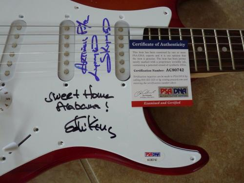 Ed King & Artimus Pyle Lynyrd Skynyrd Signed Guitar W/ Lyrics PSA Certified