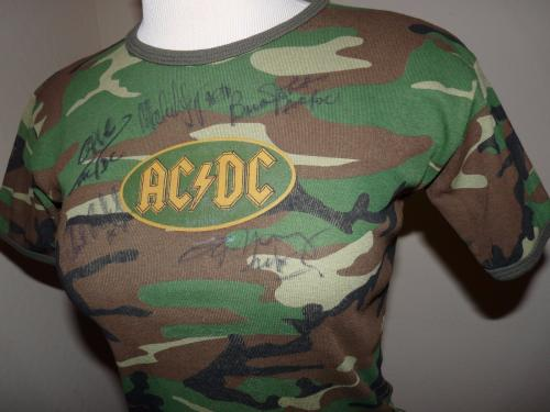 AC/DC Band All 5 Signed Concert Shirt PSA Certified Malcolm Angus Phil Brian +1