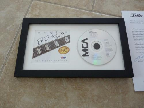 BB King Six Silver Strings Signed Autographed Framed CD Display PSA Certified