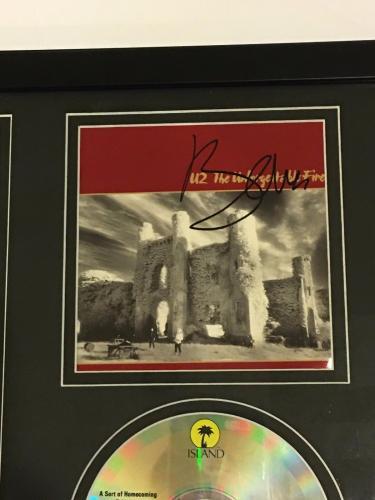 "BONO SIGNED FRAMED 12x18 ""THE UNFORGETTABLE FIRE"" CD & PHOTO DISPLAY U2 JSA LOA"