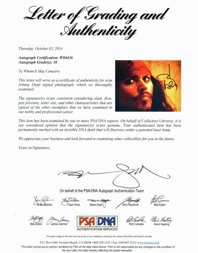 Johnny Depp Signed 11X14 Photo w/ Graded 10 Autograph! PSA/DNA #W04436