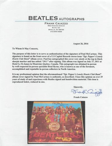 "Paul McCartney ""2011"" Signed Sgt. Peppers Album Cover W/ Vinyl JSA & Caiazzo LOA"
