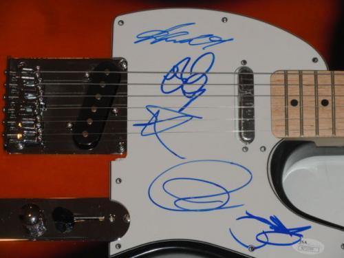 Yes Signed Sunburst Electric Guitar Jon Anderson Howe Wakeman White 5x Jsa Coa