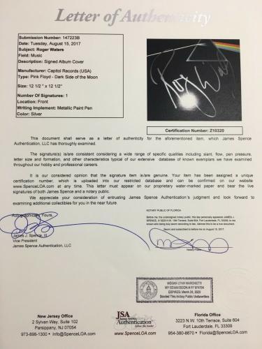 Roger Waters Signed Pink Floyd Dark Side Of The Moon Vinyl Album JSA LOA
