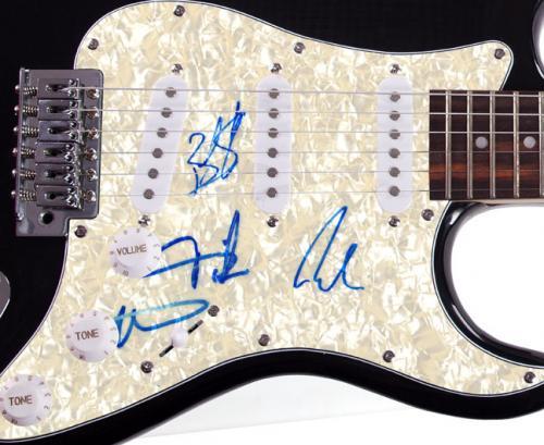 Cage The Elephant X4 Autographed Pearl Pickguard Guitar UACC RD COA AFTAL