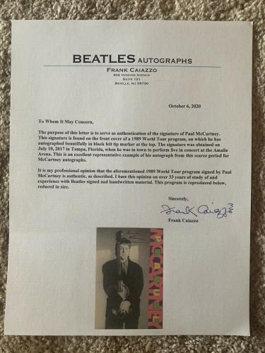 Paul McCartney Beatles Tour Program Signed Autographed Caiazzo & JSA Certified