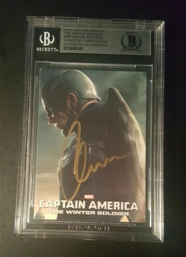 Chris Evans Captain America SIGNED 2014 Winter Soldier AVENGERS BAS BECKETT AUTO