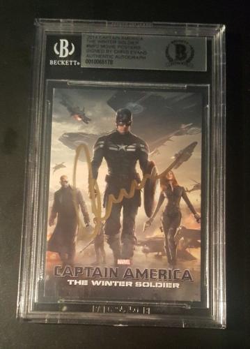 Chris Evans Captain America SIGNED 2014 Winter Soldier AVENGERS BAS BECKETT AUTO