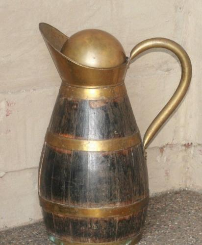 1920's-30's  French Antique Design Oak & Brass Water Pitcher w/ Brass Ball Lid