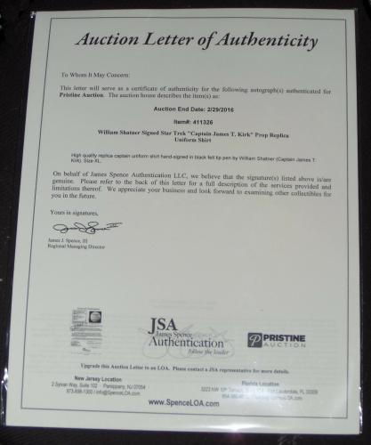 WILLIAM SHATNER SIGNED STAR TREK UNIFORM SHIRT SMOCK CAPTAIN JAMES T. KIRK w/JSA
