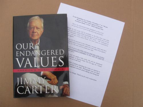 Jimmy Carter signed book Our Endangered Values 1st Print Beckett BAS Authentic