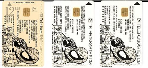 1994 Marvel Comics German Phone Card Lot (3 Cards)