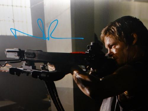 Norman Reedus Signed *Teal Walking Dead 16x20 Standing W/Crossbow Photo-JSA Auth