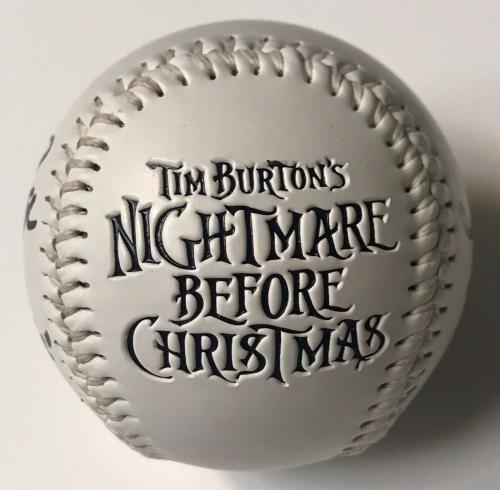 Chris Sarandon Ken Page Nightmare Before Christmas Signed Baseball BAS COA (A)