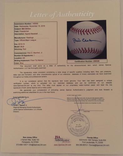 President Bill Clinton Signed   Autographed Official Major League Baseball - JSA Certified