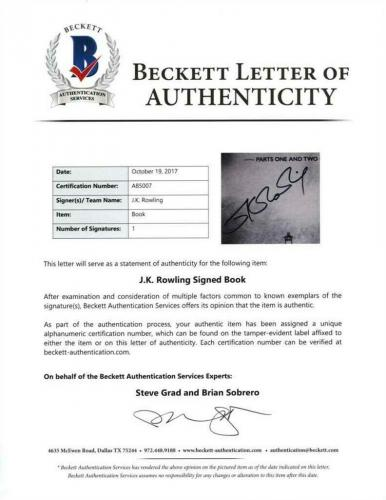 J.K. Rowling Harry Potter Autographed Signed Book Certified Authentic BAS COA