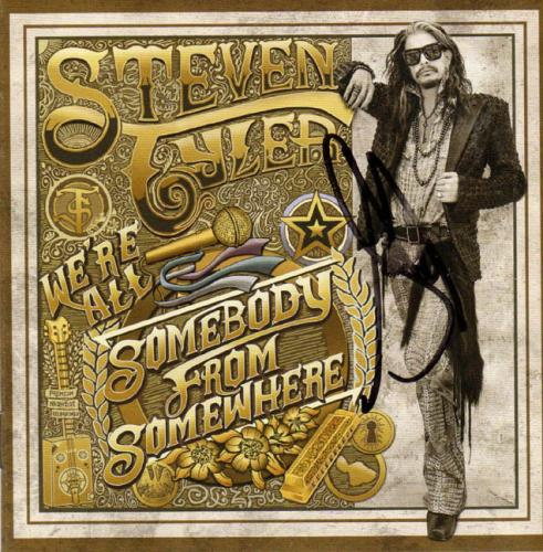 Steven Tyler Signed Were All Somebody From Somewhere Album CD Acoustic Guitar AF