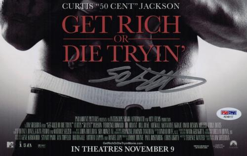 50 Cent Signed Get Rich Or Die Tryin' 11x17 Movie Poster Psa Coa Ad48117