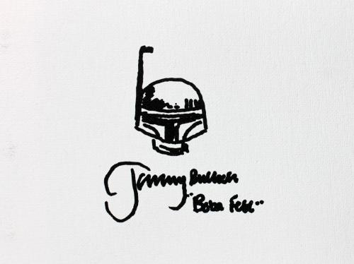 Jeremy Bulloch Star Wars Boba Fett Signed 9x12 Canvas w/ Sketch LE 4/4 JSA