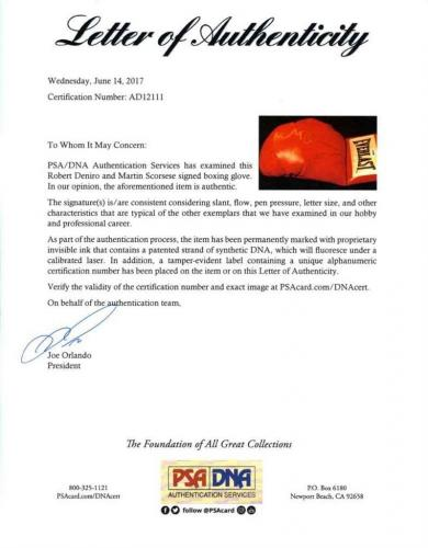 Raging Bull De Niro and Scorsese Autographed Signed Boxing Glove PSA/DNA COA