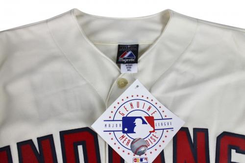 Charlie Sheen Major League Signed Indians Cream Majestic Jersey BAS Witnessed