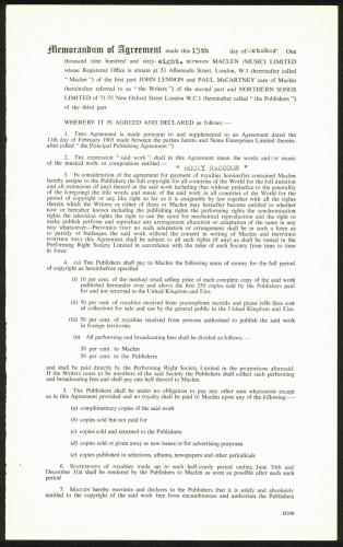 Beatles John Lennon & Neil Aspinall  Signed 1968 Publishing Contract BAS #A86831