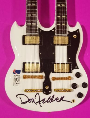 The Eagles Don Felder Signed Mini Double Neck Guitar + Bas Coa Hotel California