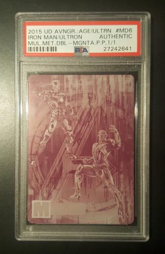 2015 Marvel Avengers UD UPPER DECK Age of Ultron Iron Man Printing Plate 1/1 PSA