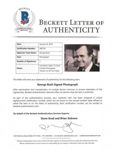 George H.W. Bush Signed & Mounted Black & White 8x10 Photo BAS #A85704