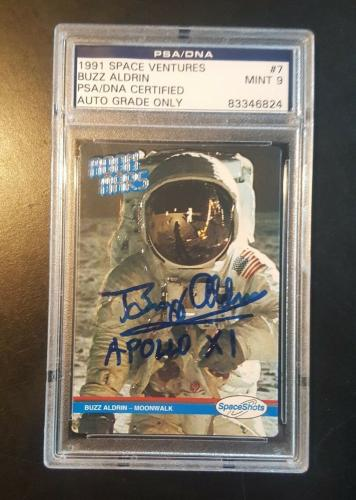 1991 Buzz Aldrin Apollo 11 Space Ventures MOON MARS Signed PSA/DNA MINT 9 AUTO