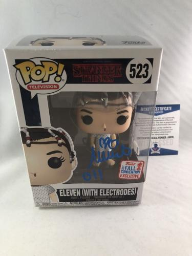 Millie Bobby Brown Signed Eleven W/ Electrodes Stranger Things Funko Pop Bas 3