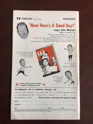 "1953, Jackie Gleason, ""TV Forecast"" Guide, (No Label) Scarce"