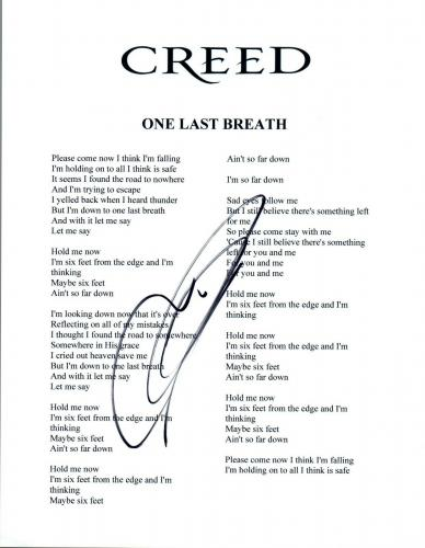 Mark Tremonti Signed Autographed Creed ONE LAST BREATH Lyric Sheet COA