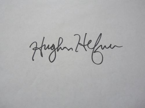 Hugh Hefner Playboy Large 2x5 Signed Autographed 8.5x11 Paper BAS Certified
