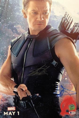 Jeremy Renner & Stan Lee Signed Marvels Avengers Hawkeye 12x18 Photo Beckett BAS