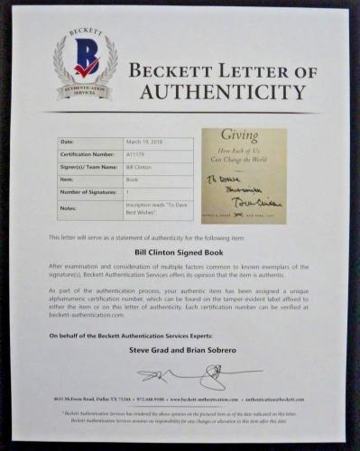 President Bill Clinton GIVING Signed Autographed Book BAS Beckett Certified