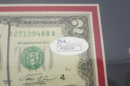 Donald Trump POTUS Signed Autographed TWO Dollar Bill Framed Matted JSA COA