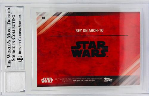 Daisy Ridley Signed Star Wars The Last Jedi Topps Rey - Beckett BAS Graded 10 97