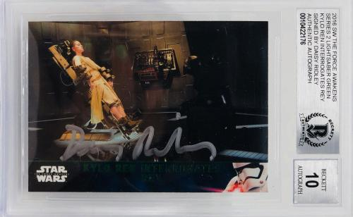 Daisy Ridley Signed Star Wars The Force Awakens Topps Rey - BAS Graded 10 #74 GN