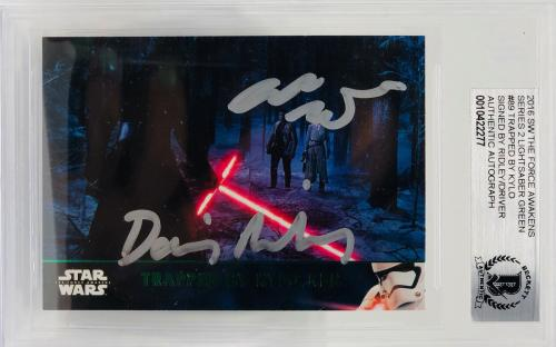 Daisy Ridley Adam Driver Signed Star Wars Force Awakens Topps - BAS #89