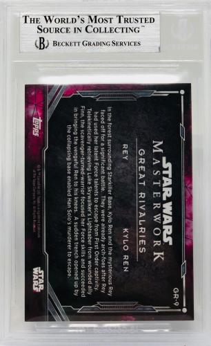 Daisy Ridley Adam Driver Signed Star Wars Force Awakens Topps Ren - BAS #GR-9