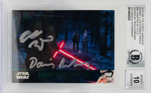 Daisy Ridley Adam Driver Signed Star Wars Force Awakens Topps - BAS Graded 10 GR