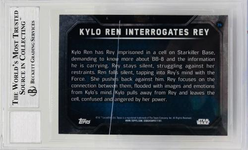 Daisy Ridley Adam Driver Signed Star Wars Force Awakens Topps - Graded 10 BAS 74