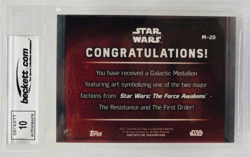 Daisy Ridley Signed Star Wars The Force Awakens Topps Grade 10 - Beckett BAS M20