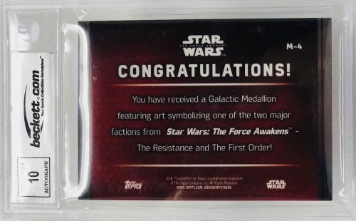 Daisy Ridley Signed Star Wars The Force Awakens Topps Grade 10 - Beckett BAS #M4