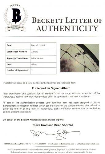 Beckett-bas Eddie Vedder Pearl Jam Vs Autographed-signed Record Album A88012