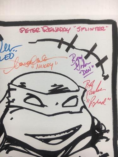 Tmnt Ninja Turtles Cast (8) Signed 11x14 Eastman Sketch Canvas Bas Coa Auto L