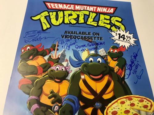 Teenage Mutant NINJA TURTLES Cartoon Cast Signed x8 VHS 11x17 Poster BAS COA